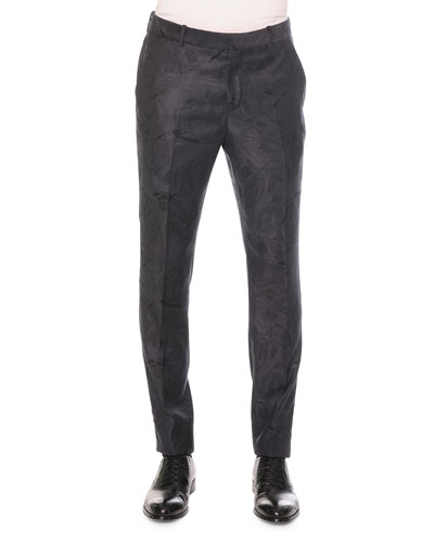Woven Skull Jacquard Trousers, Dark Gray