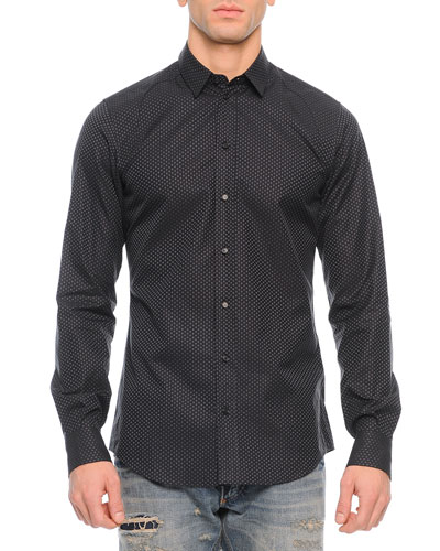 Small Flower-Print Sport Shirt, Black