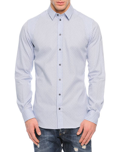 Gingham with Cross-Print Sport Shirt, Light Blue