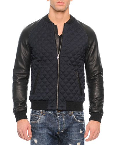 Quilted Leather Bomber Jacket, Navy/Black