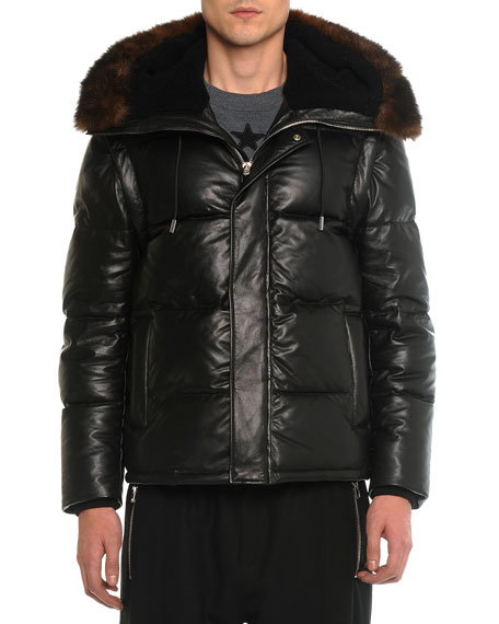 Givenchy Leather Puffer Jacket with Opossum Fur, Black