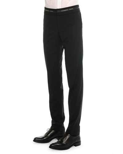 Logo-Waist Wool Trousers, Black