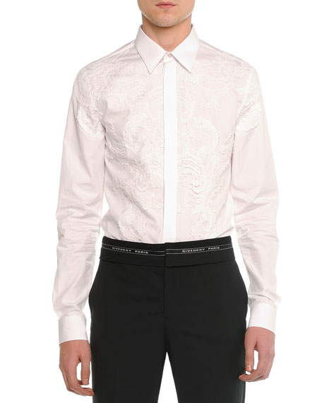 Givenchy Lace-Front Poplin Shirt, White