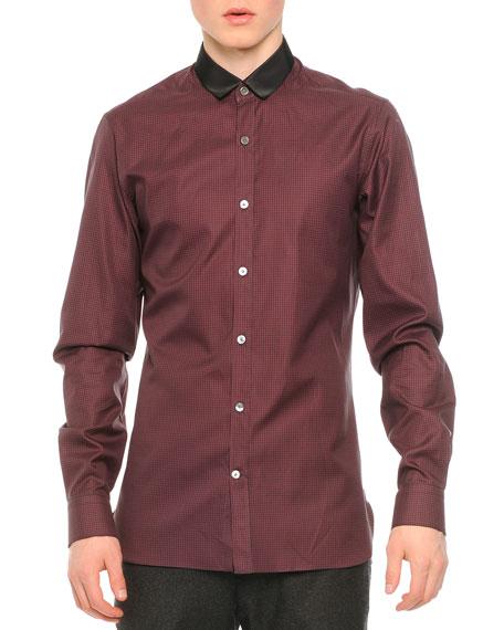 Lanvin Contrast Collar Striped Button-Down Shirt, Charcoal