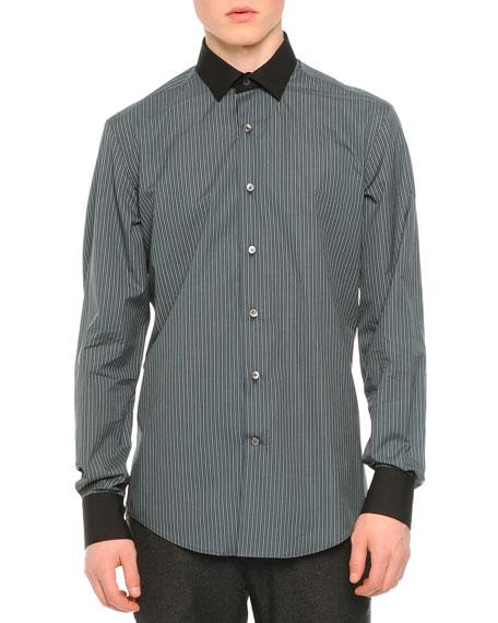 Lanvin Micro-Check Poplin Shirt, Black Pattern
