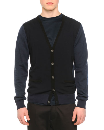 Wool V-Neck Two-Pocket Cardigan