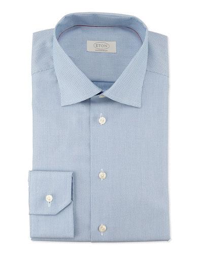 Contemporary-Fit Micro-Dot Print Dress Shirt, Light Blue