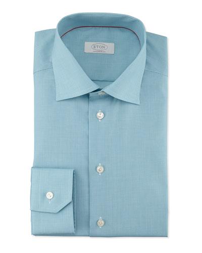 Contemporary-Fit Micro-Check Dress Shirt, Aqua