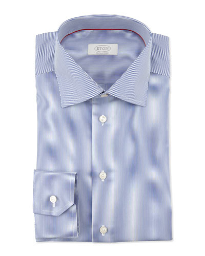 Contemporary-Fit Fine-Stripe Dress Shirt, Navy