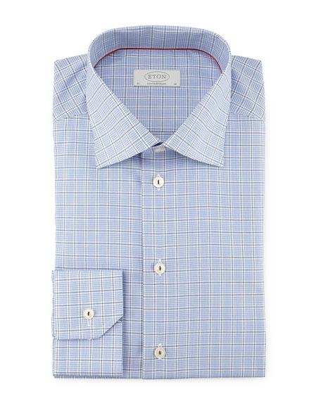 Eton Contemporary Windowpane-Check Woven Dress Shirt, Blue