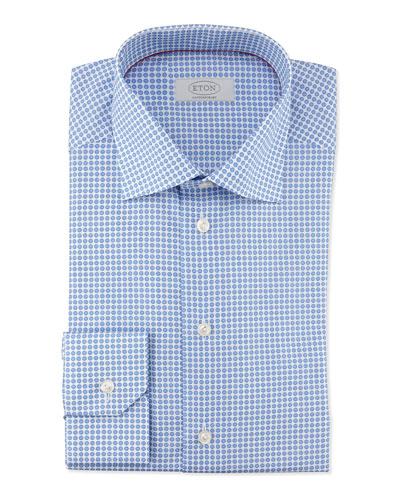 Circle-Print Woven Dress Shirt, Blue/White