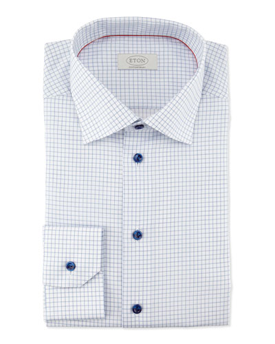 Contemporary-Fit Graph-Check Dress Shirt, Blue/White