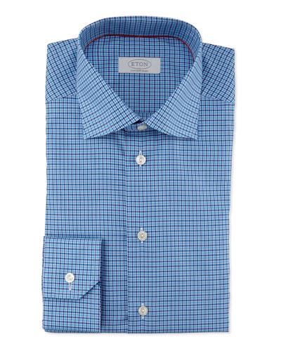 Contemporary-Fit Small-Check Dress Shirt, Blue