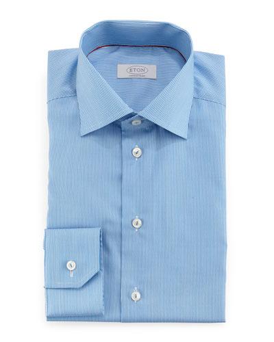 Contemporary-Fit Mini-Stripe Dress Shirt, Light Blue