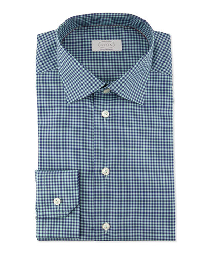Contemporary-Fit Box-Check Dress Shirt, Green/Navy
