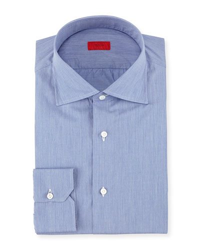 Solid Chambray Woven Dress Shirt, Dark Blue