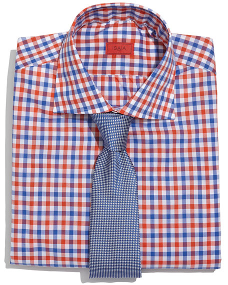 Isaia Gingham Check Dress Shirt Orange Blue