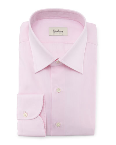 Diamond-Weave Solid Dress Shirt, Pink