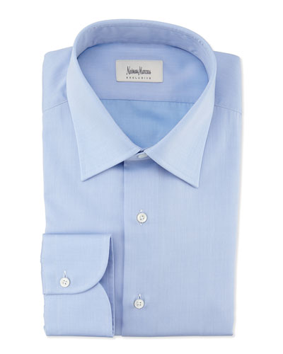 Textured Solid Dress Shirt, Blue