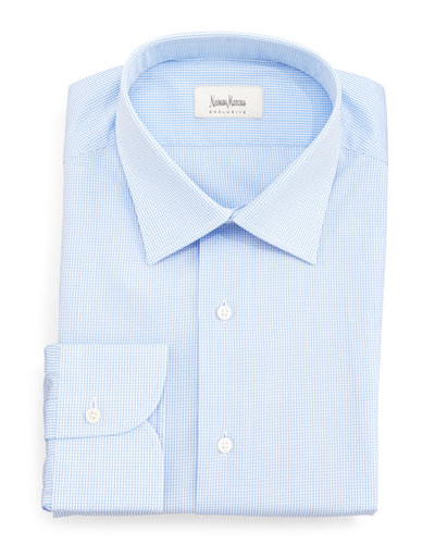 Check Dress Shirt, White/Blue