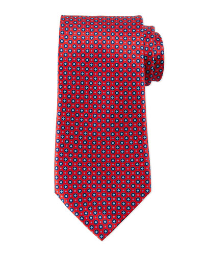 Circle-Diamond Neat Silk Tie, Red
