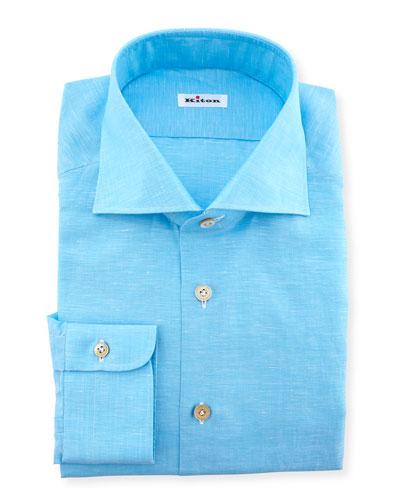 Solid Button-Down Dress Shirt, Aqua