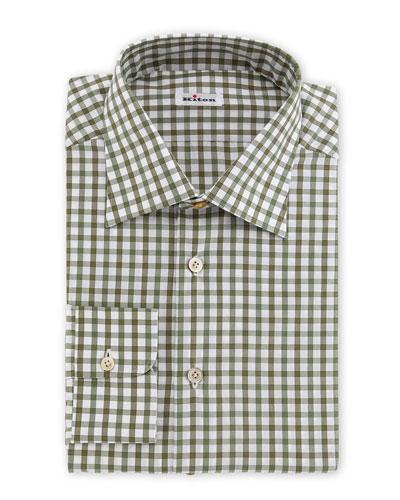 Box-Check Woven Dress Shirt, Olive/White