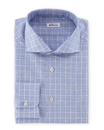Windowpane-Plaid Woven Dress Shirt, Blue/White