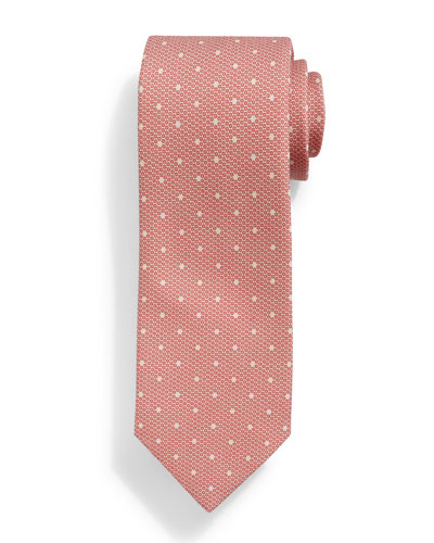 Faded Dot-Pattern Silk Tie, Red