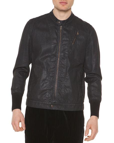 Tomas Maier Coated Denim Zip-Up Jacket, Navy