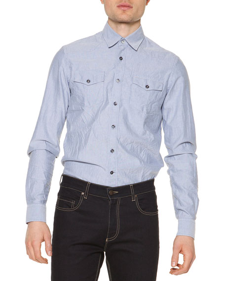Tomas Maier Salt-Wash Long-Sleeve Shirt, Light Blue
