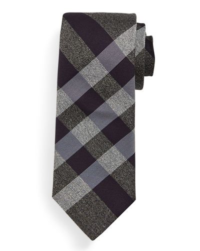 Manston Small-Check Silk Tie, Mink Gray