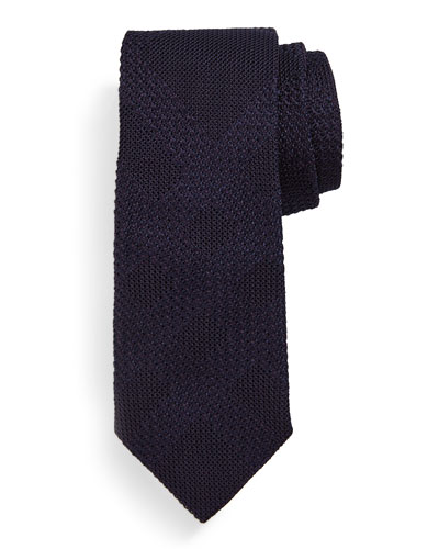Textured Tonal-Check Silk Knit Tie, Dark Purple