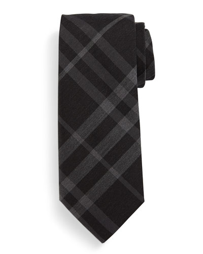Manston Check Silk Tie, Black