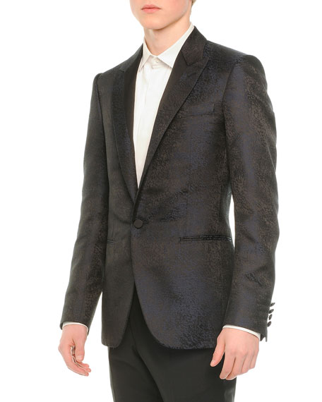 Lanvin Coated One-Button Evening Jacket, Navy