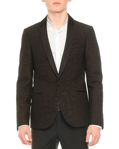 Shawl-Collar Textured Evening Jacket, Black/Copper