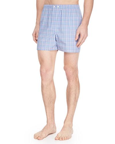 Barker Check-Print Boxer Shorts, Blue