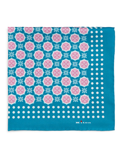 Medallion-Print Silk Pocket Square, Teal
