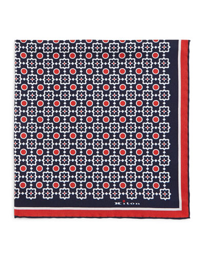 Circle & Square-Medallion Print Pocket Square, Navy