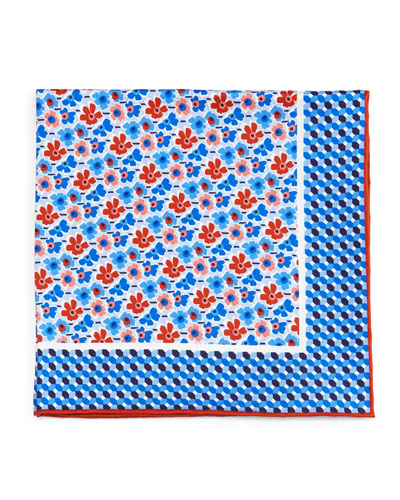 Flower-Print Silk Pocket Square, Blue