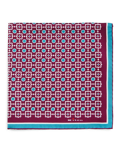 Circle & Square-Medallion Print Pocket Square, Purple