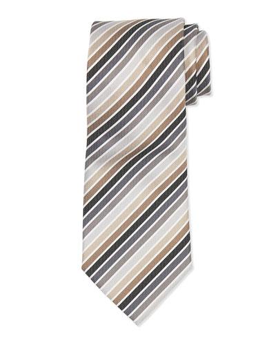 Multi-Stripe Silk Tie, Brown