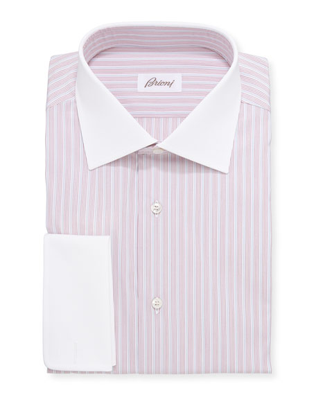 BrioniContrast-Collar Multi-Stripe Dress Shirt, Red/Blue