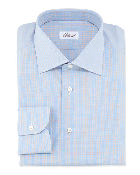 Brioni Woven Grid Check Dress Shirt, Orange/Blue