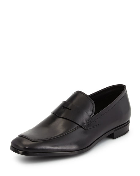Prada Leather Dress Penny Loafer, Black