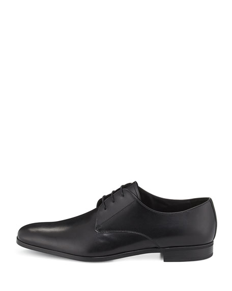 Leather Lace-Up Oxford, Black