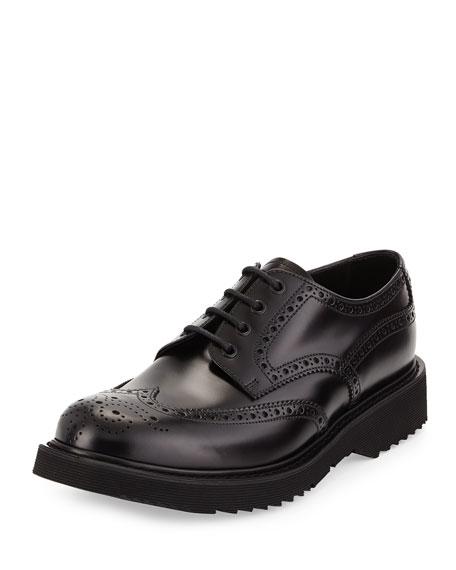 Prada Rubber-Sole Wing-Tip Derby Shoe, Black