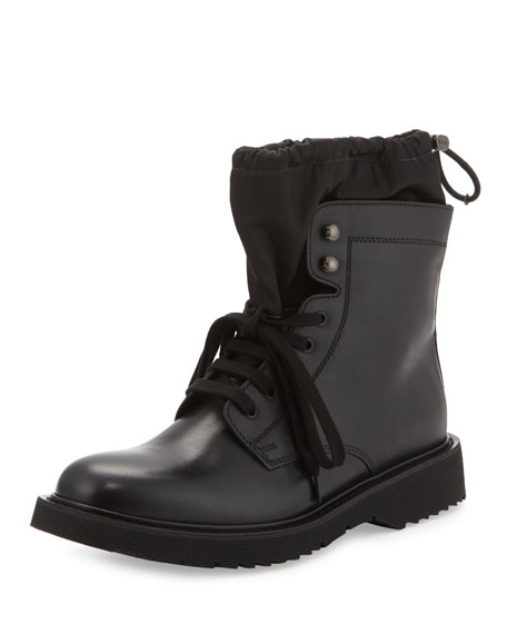 Prada Leather Sock Boot w/ Toggle, Black