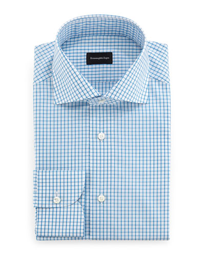 Box-Check Dress Shirt, Aqua