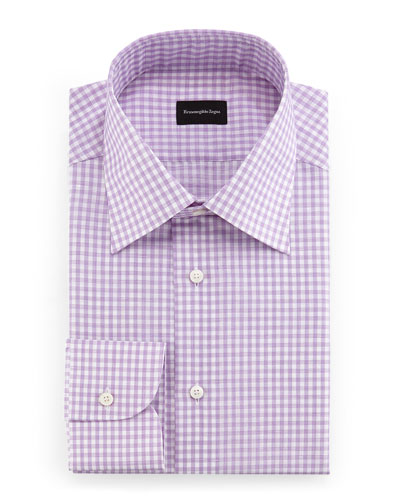 Check Woven Dress Shirt, Raspberry/White